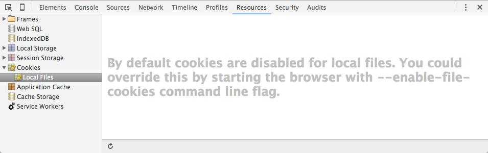 ローカルのHTMLファイルを開いたときのデベロッパーツールの表示